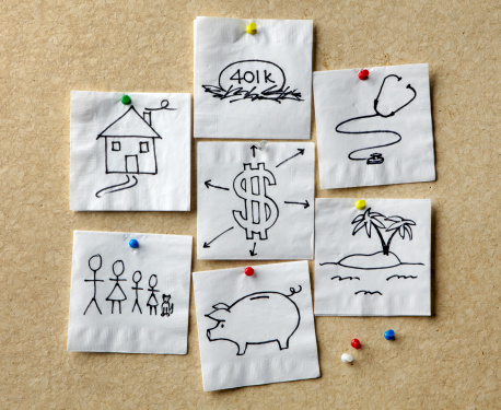 Napkins With Personal Finance Concepts