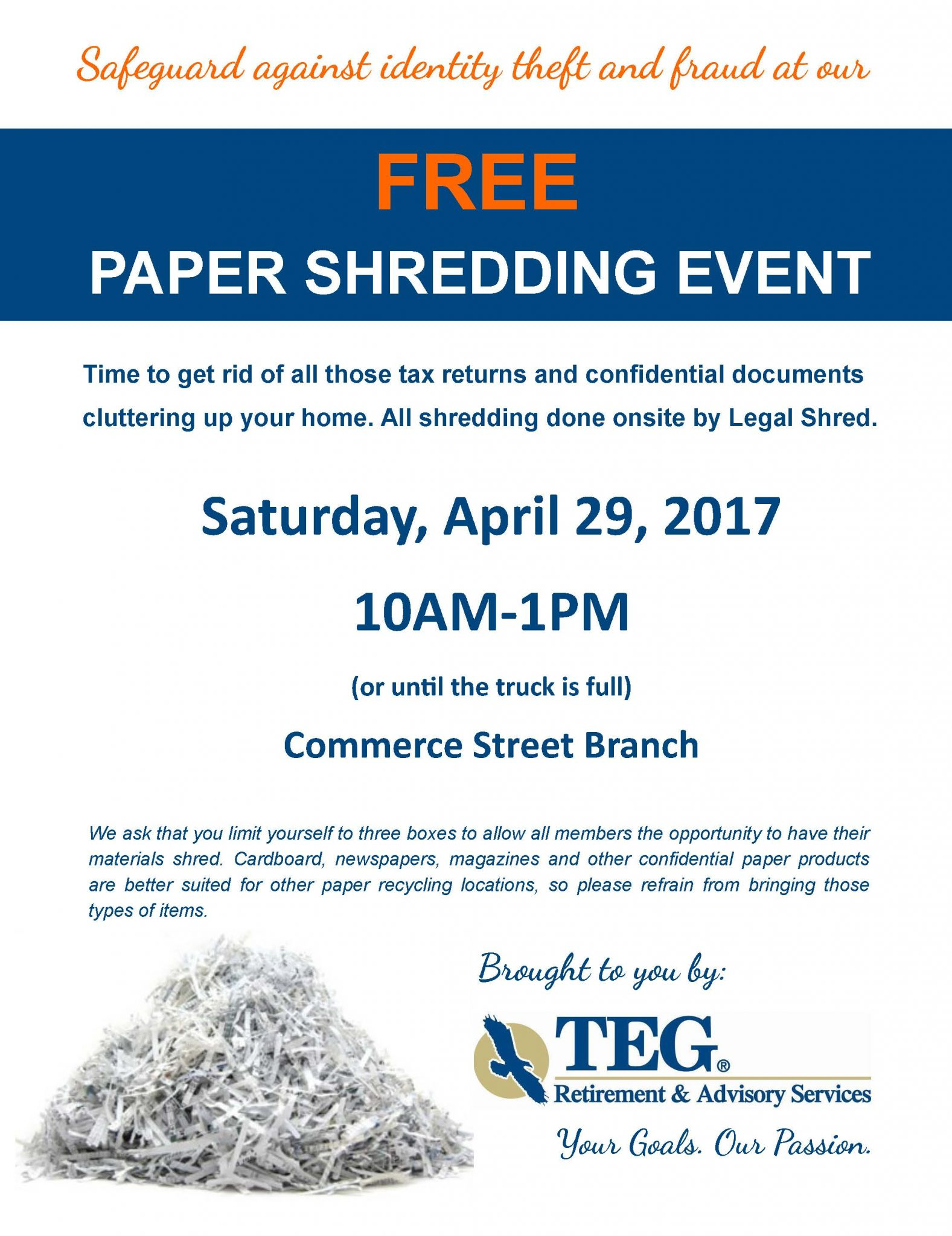 Shred Event Presented By TEG Retirement Advisory Services