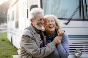 Happy Senior Couple on a RV vacation