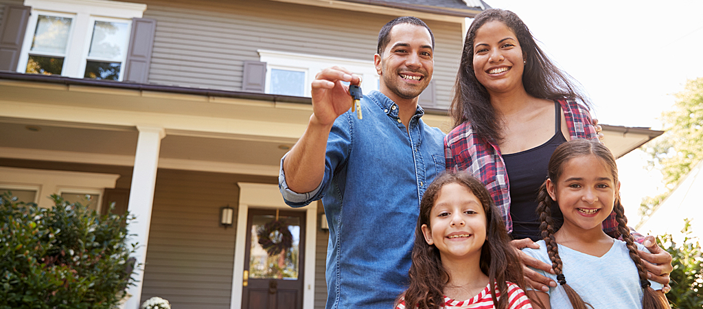 Family with new home keys