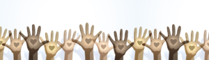 TEG gives back fundraising hands waving with hearts on their palms