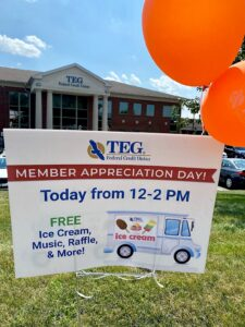 TEG Member Appreciation Day 1 Sign in front of branch