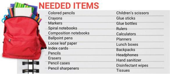 Back to School Items Needed